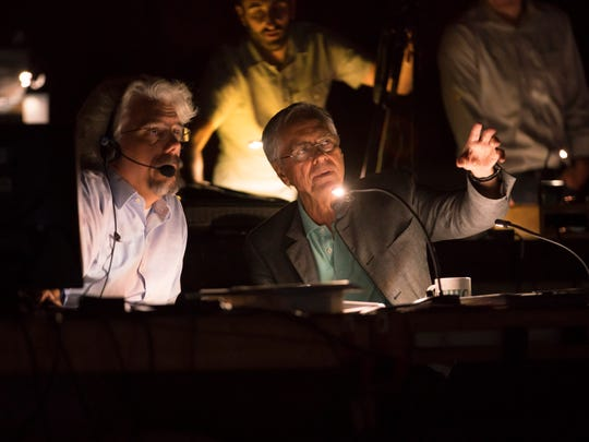 Lyric lighting director Chris Maravich (left) with