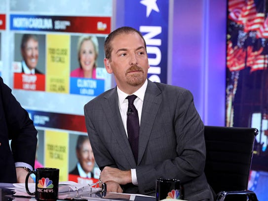 "Chuck Todd, moderator, ""Meet the Press with Chuck Todd"" is shown on Election Night in 2016."
