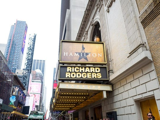 A marquee for the musical Hamilton at the Richard Rodgers