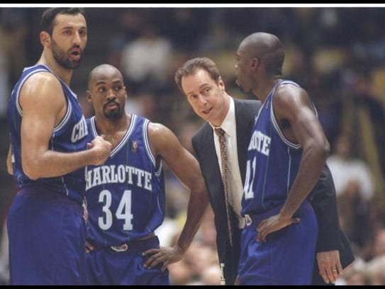 8 Jan 1997:  Coach Dave Cowens of the Charlotte Hornets