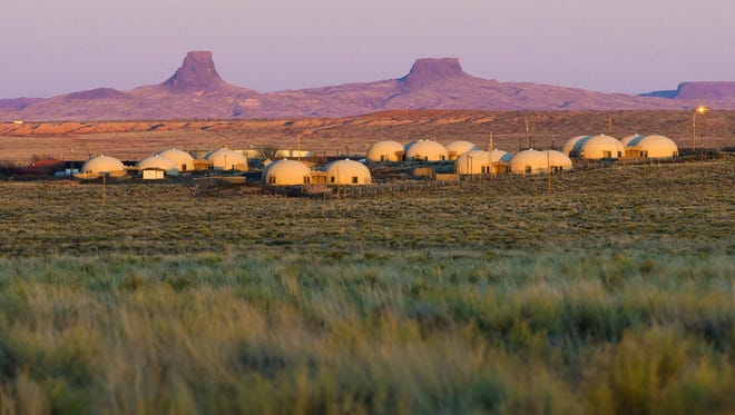 Domed houses built for teachers by the Navajo Housing Authority sit empty at Tolani Lake, Ariz. February 24, 2016. The structures have since been vandalized.