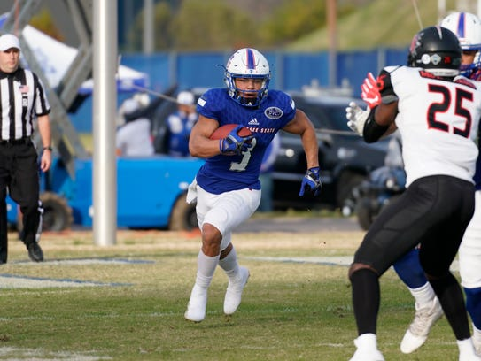 Tennessee State running back Chris Rowland cuts towards