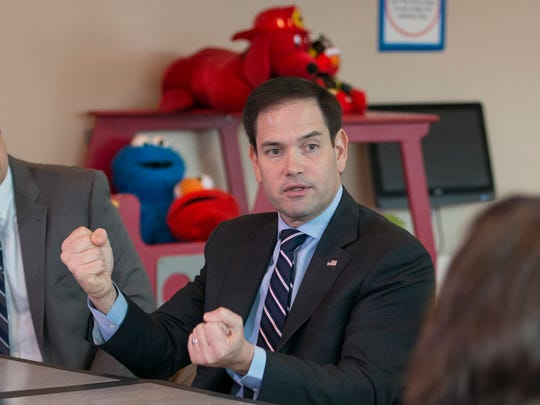 Senator Marco Rubio answers a question during a roundtable