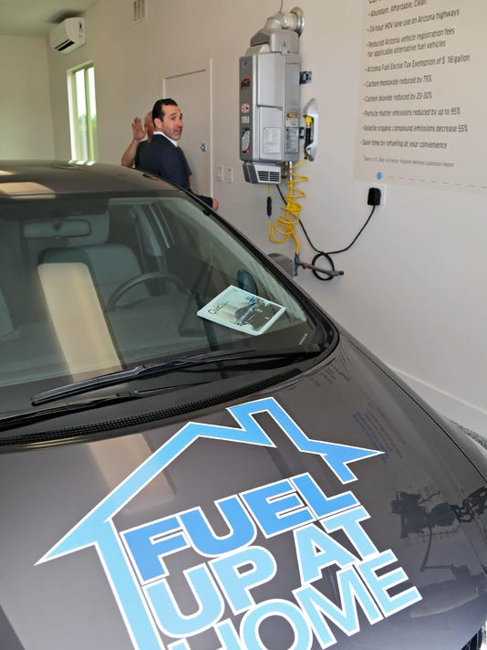 Natural gas fueling station in a garage