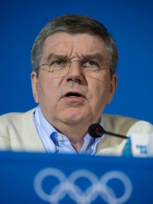 IOC president Thomas Bach addresses the media prior to the 2014 Sochi Winter Olympic Games at Main Media Center-Pushkin Hall in Sochi on Monday.