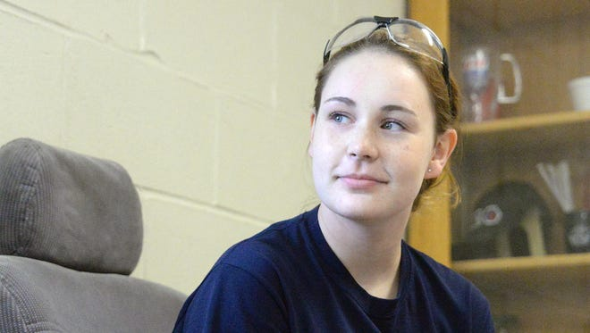 Katherine Lacaillade, 17, a senior at Millville Senior High School, talks about becoming the first female mechanic from the school to compete in the Ford AAA State Hands On Automotive Competition.