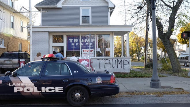 Lansing police responded to reports of vandalism at 1500 East Michigan Avenue on Wednesday, Nov. 9, 2016.