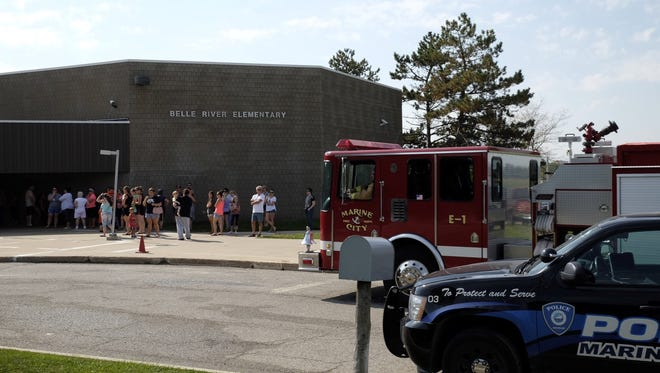 Rescue crews responded to a fire at Belle River Elementary Monday morning.