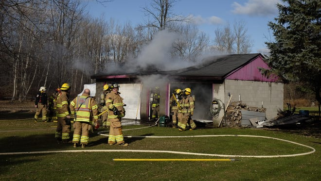 Firefighters are at the scene of a garage fire in Fort Gratiot.