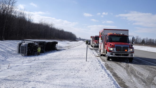A truck crashed on to its right side on eastbound Interstate 69 Tuesday afternoon.
