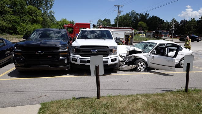 Two people were taken to local hospitals following a crash in Port Huron Township Tuesday afternoon.