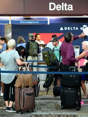 Delta Airlines at Nashville International Airport shown in a 2016 Tennessean file photo.