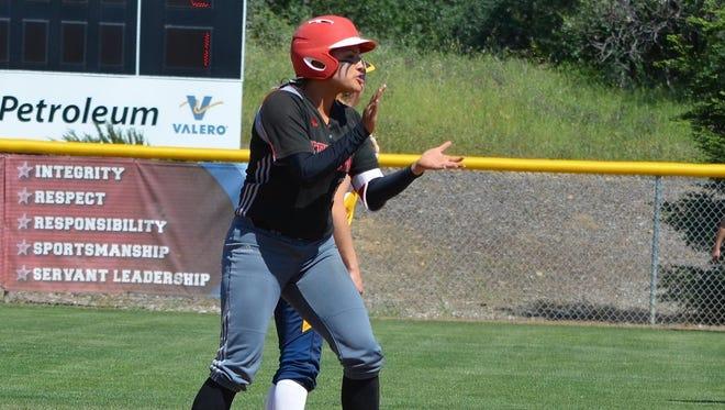 Simpson University first baseman and La Quinta grad Mia Olvera was named the California Pacific League MVP this year.
