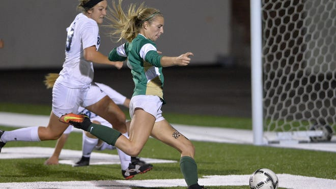 CMR's Brynn Klinefelter scores during crosstown soccer action last year against Great Falls High at Memorial Stadium.