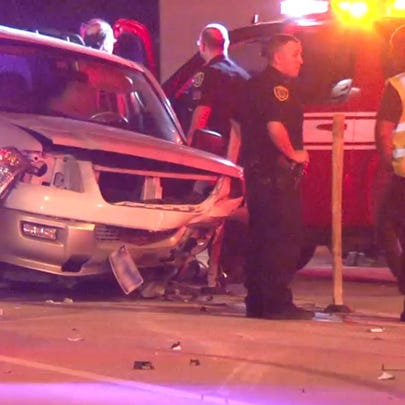 A Houston Fire Department SUV was hit, a wrong-way