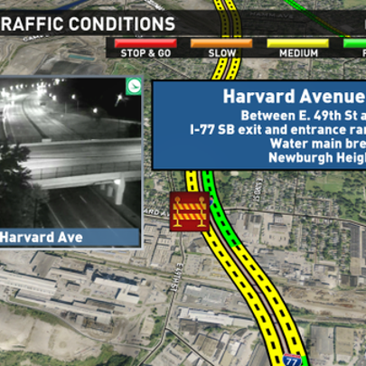 Harvard Avenue closed at I-77 in Newburgh Heights.