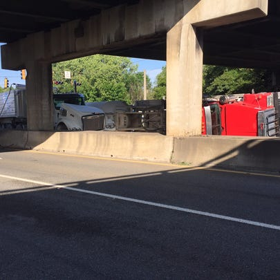 Overturned tractor trailer on Spring St. near I-16