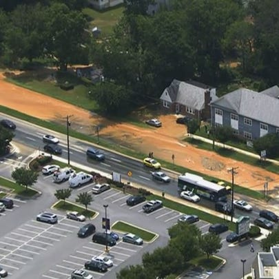 An aerial view of the flooding due to a water main
