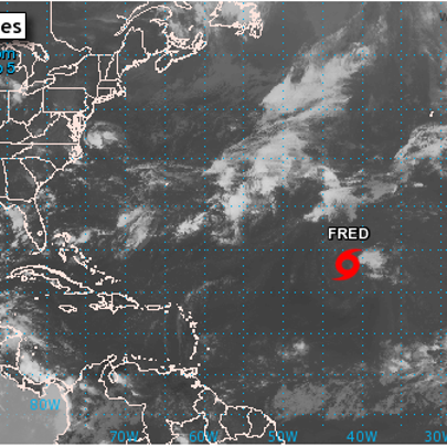 Tropical Depression 7 can be seen on this map from