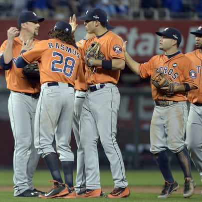 Oct 8, 2015; Kansas City, MO, USA; Houston Astros players