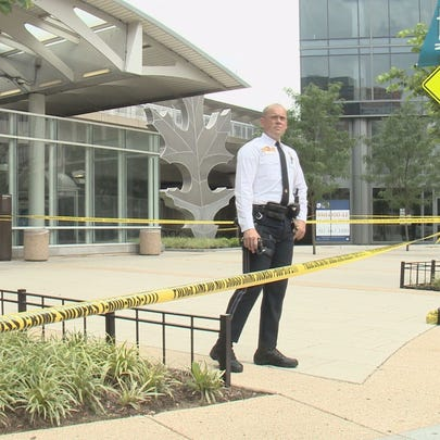 The scene outside the NoMa Metro station after a person