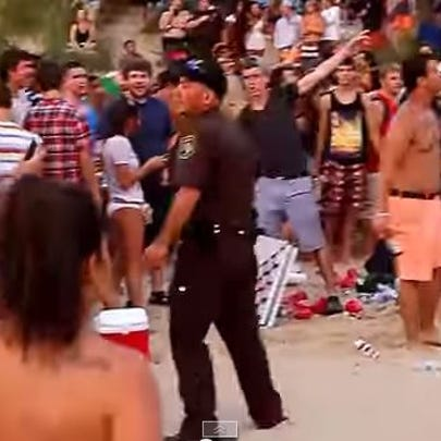 YouTube video shows a large crowd at SIlver Beach in