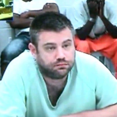 Eric Warfel in court.