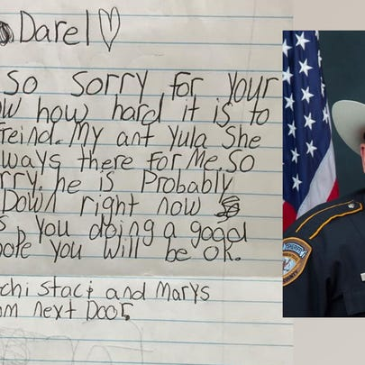 Child's letter about the death of HCSO Deputy Goforth