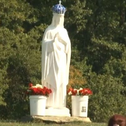A makeshift statue of Mary in the Elyria field.
