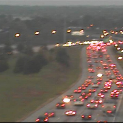 Stop and go traffic on I-480 EB at Granger Rd in Garfield