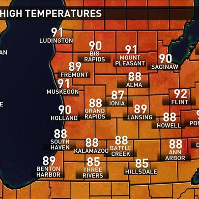 Observed high temperatures Monday. (July 27, 2015)