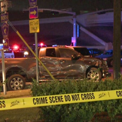 The truck involved in the police chase and officer-involved