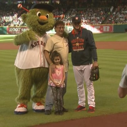 Hannah Calaway threw out the first pitch before Saturday's