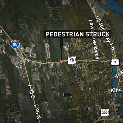 A pedestrian was struck on State Road 16 just west