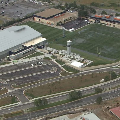 Water flooded the Broncos practice fields at Dove Valley
