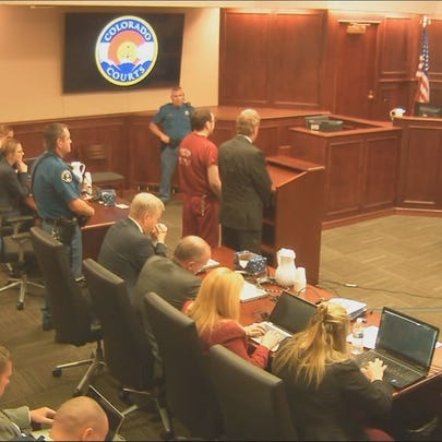 James Holmes standing during his sentencing