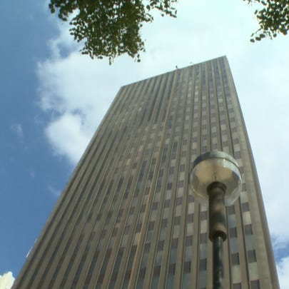 One Cascade Plaza in downtown Akron, pictured on Aug.