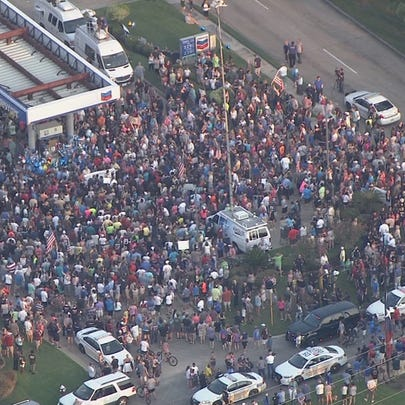Hundreds gathered for a prayer walk Sunday evening