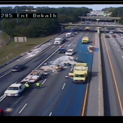 I-20 EB shut down after a pickup truck lost its construction