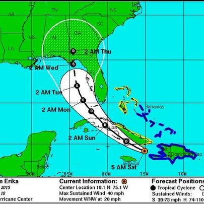 Tropical Storm Erika 5 a.m. Saturday update