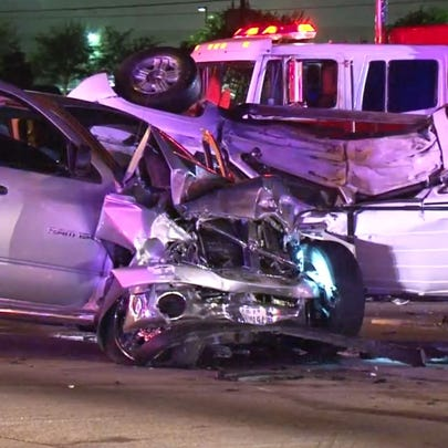 A four-vehicle accident killed at least one person
