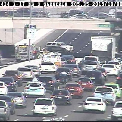 Interstate 17 southbound was closed at Glendale Avenue