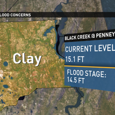 At 7 a.m. Tuesday, Black Creek was about 6 inches over