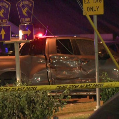 The suspect's truck involved in the police chase and