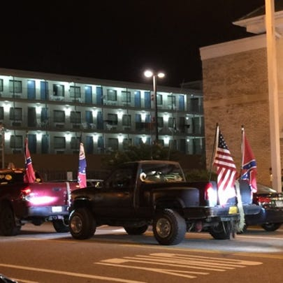 Drivers displaying Confederate flags at the Oceanfront
