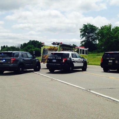Crash involving a car and ambulance at M-37 just N