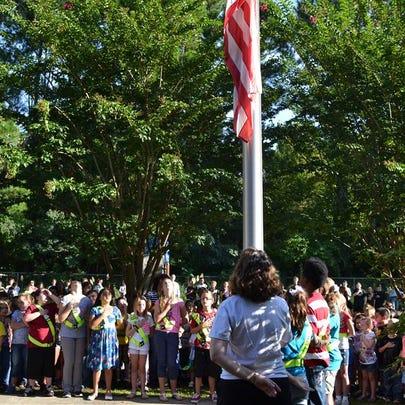 Flag raising at Oceanway Elementary