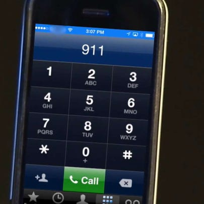 Generic photo of a phone dialing 911 on it.