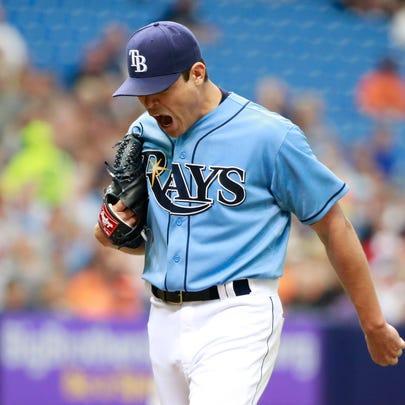 Tampa Bay Rays starting pitcher Matt Moore (55) reacts
