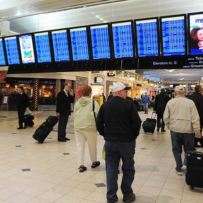 Travellers walk through the main concourse on February